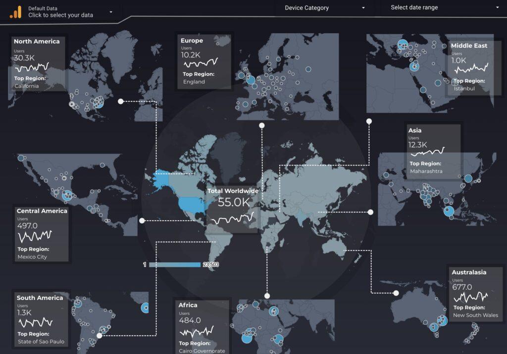 Google Analytics dashboard using geo data with a dark background